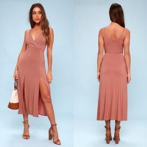 Lulu's Time to Tango Blush Pink Midi Slit Dress XS
